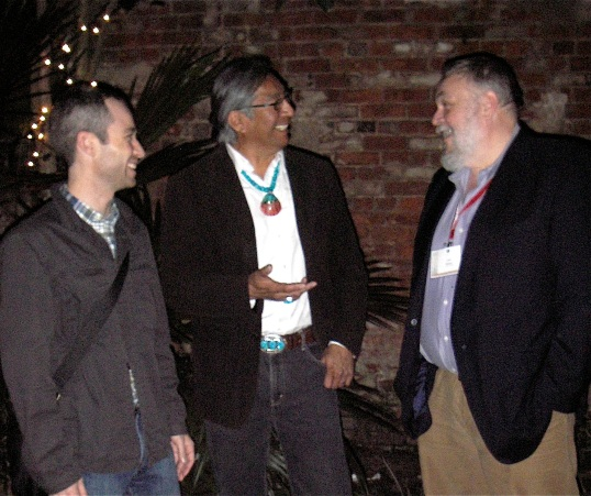 Chip Colwell-Chanthaphonh, Jim Enote, and Alex Barker at the CMA reception, New Orleans Pharmacy Museum